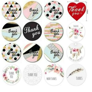 """100 Variety Thank You Stickers 1.5"""" Heart 1"""" Round"""